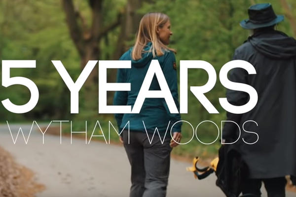 Two people walking down a tree lined road with wording over image stating 75 Years in Wytham Woods