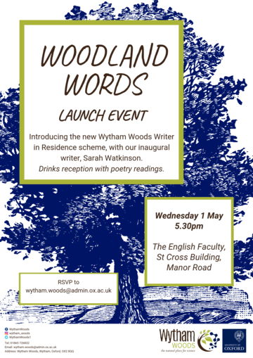 Image of poster, Woodland words launch event, blue tree with text relating to the event.