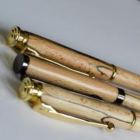 Close up image of the spalted beech pens